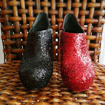 Harley Quinn Inspired Red and Black Glitter Booties US Size 8