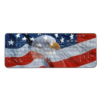 Patriotic Bald Eagle American Flag Wireless Keyboard