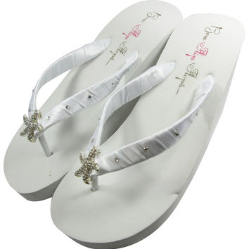 White Wedge Bridal Flip Flops with Starfish & Swarovski Rhinestones, Wedding Flip Flops