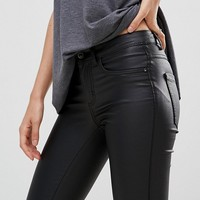 Only Faux Leather Skinny Jeans at asos.com