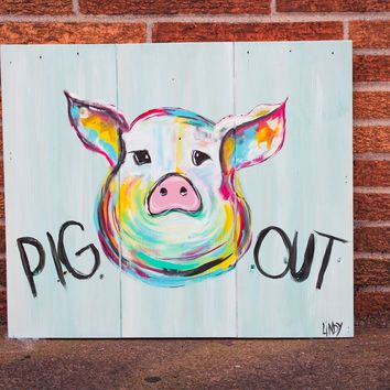 Pig Out on Reclaimed Barnwood, Hand-painted Wall Art