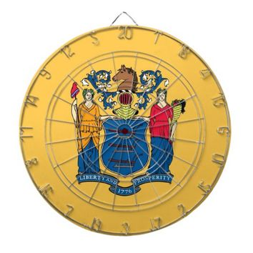 Dartboard with Flag of New Jersey, USA