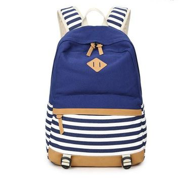 Two Tone Striped Canvas Backpack