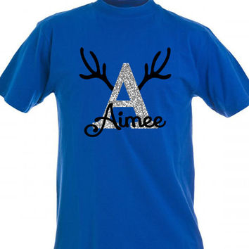 Christmas Holiday Personalized T-shirt with Name & Initial Reindeer