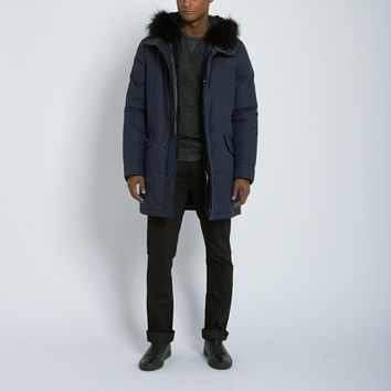 Yves Salomon Cotton Tech Parka with Fur Trimmed Vest in Navy