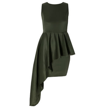 Waterfall Peplum Mini Dress, Olive