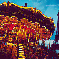 Paris photograph Eiffel Tower Merry Go Round by jbardasian