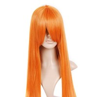 Orange Red Long Anime Cosplay Costume Wig Hair