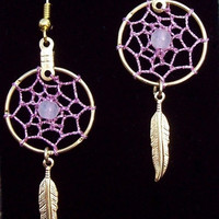 ON SALE PRETTY in Pink  Dream catcher earrings gold with Rose quartz- also known as the Love stone