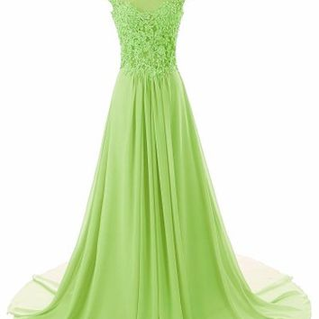 JAEDEN Women's Cap Sleeves Long Chiffon Lace Evening Gown Prom Dresses