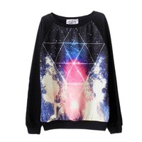 Etosell Women Harajuku Style Cosmic Print Sweater Long Sleeve Pullover Tracksuit