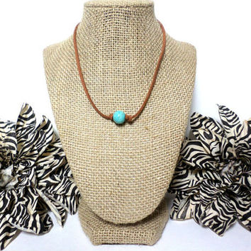 Turquoise warm brown suede leather choker necklace, turquoise knotted genuine leather, turquoise bead, suede leather cord, gift