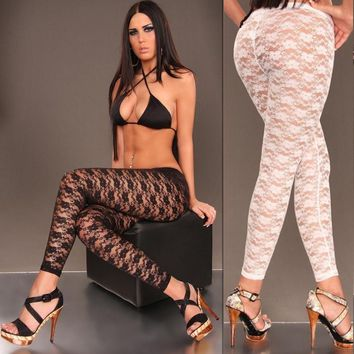 Lace Tight Elastic Fashion Pants Trousers