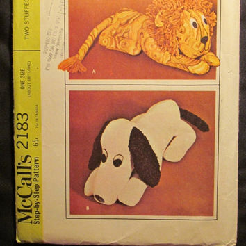 SALE Uncut 1960's McCall's Sewing Pattern, 2183! Two Stuffed Animals/Snoopy Dog/Lion/Stuffed Toys for Kids/Children/Home decor/18 inches lon