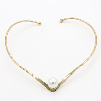 Golden Faux Pearl Detail Open Collar Necklace