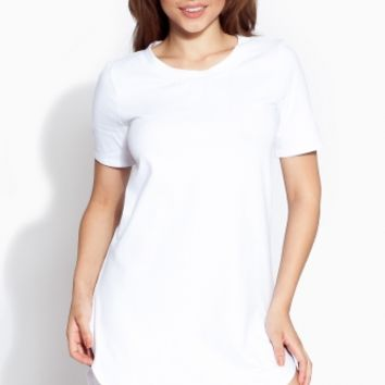 White Round Hem Shirt Dress @ Cicihot sexy dresses,sexy dress,prom dress,summer dress,spring dress,prom gowns,teens dresses,sexy party wear,ball dresses