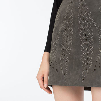 LEATHER OPENWORK SKIRT
