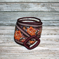 Floral Belt Tapestry Belt Hippie Belt Bohemian Belt Boho Belt Burgundy Orange Gypsy Belt Woven Belt Womens Belts Vintage Accessories