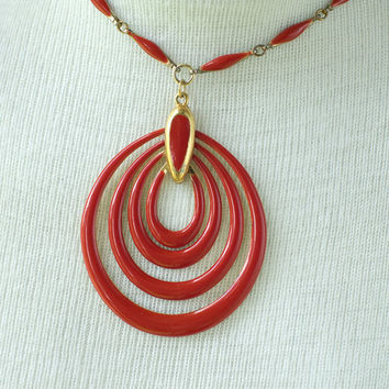 Red Enameled Necklace Vintage by My3Chicks on Etsy