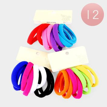 Stretchy Hair Bands Pony Tail Holders 12 Sets Of 8 Carded