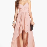 Hailey Logan Pleated Chiffon High/Low Gown (Juniors)