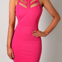 Lizzy Pink Cage Front Bodycon Mini Dress