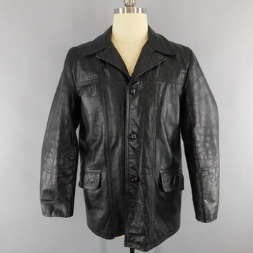 Vintage 1970s Leather Coat / 70s Men's Car Coat / Black Leather Jacket / Size 40 R