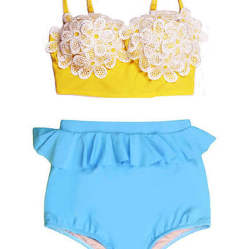 Yellow Floral Flora Flower Top and Blue Peplum High Waisted Shorts Bottom Vintage Retro Bikini set Swimsuit Swim Bathing suit Swim wear S M