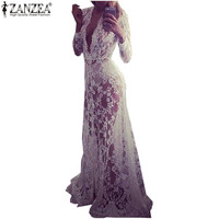 2016 Summer Autumn Dress Women Lace Embroidery Long Maxi Party Dresses Long Sleeve V Neck Sexy See Through Vestidos Plus Size