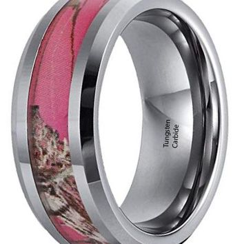 CERTIFIED 8mm Tungsten Ring Camo Hunting Camouflage Pink Tree Women's Ring