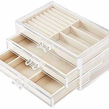UEK Jewelry Box for Women with 3 Drawers, Velvet Jewellery Organizer for Earring Bangle Bracelet Necklace and Rings Storage - Beige