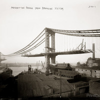 Manhattan Bridge Under Construction from Brooklyn, NY