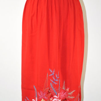 80s cutout lace skirt / 1990s red rayon skirt / vintage embroidery midi skirt / Lace Bouquet skirt