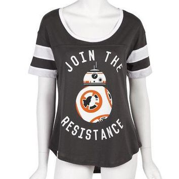 Star Wars Join The Resistance BB-8 Licensed Women's Junior Dolman Shirt - Grey