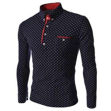 New Spring Summer Men Turn Down Collar Polo Shirt 2017 Long Sleeve Polka Dot Polo Shirts Men Slim Fit Business Male Pullover Top