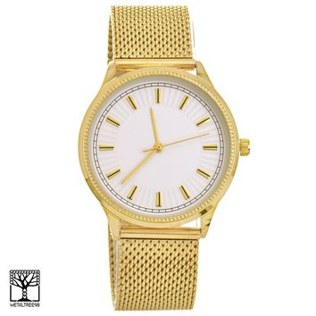 Jewelry Kay style Men's Women's Fashion 14K Gold Plated Metal Mesh Band Unisex Watches WM 15188 G