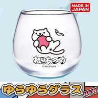 Strapya World : Neko Atsume Rocking Round Bottom Glass (Shironeko-san)