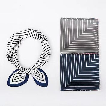 Luna&Dolphin Women Square Scarf 70*70cm Navy Style Chiffon Silk Scarves White Black Rubber Red Striped Lady Headbands Bandana