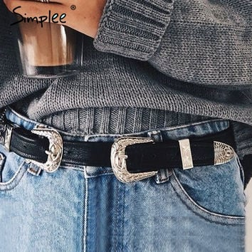 Simplee PU leather belts cummerbunds Women Geometric metal button belt buckle waist belt Vintage casual black luxury accessories