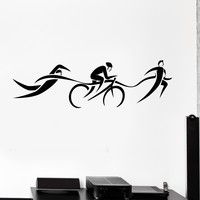 Vinyl Wall Decal Triathlon Swimming Cycling Running Stickers Unique Gift (ig4217)