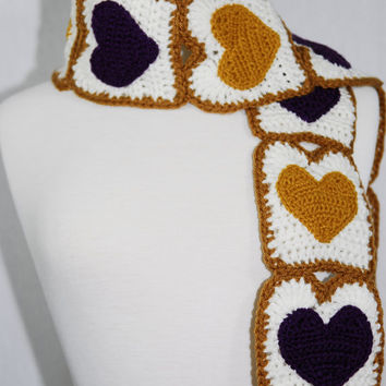 MADE TO ORDER-Peanut Butter And Jelly Toast Scarf- Crochet Scarf-Crochet Toast-Kawaii-Neck Warmer
