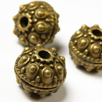 2 Pcs - 18x14mm Studded Bronze Spacer Beads - Antique Bronze - Metal Spacer Beads - Jewelry Supplies