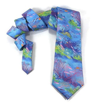 Coral reef tie, Aqua blue ocean, nautical tie, oceanography, ocean tie, bright underwater scene, scuba gift, under the sea necktie, adult