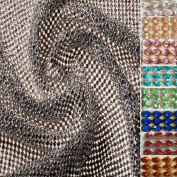 45x116cm Glitter 9 Colors SILVER Full Rhinestone Metal Mesh Fabric Metallic cloth Metal Sequin Sequined Fabric home decoration