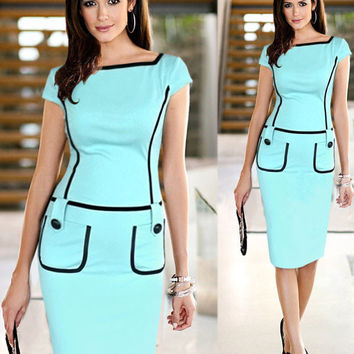 Contrast Drop Waist Button Pocket Detail Slim Pencil Midi Dress