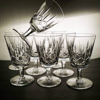 Set of 8 Vintage 1950s French Cristallerie Lorraine Lemberg Clear Hand Cut Crystal Stemmed Drinking Glasses