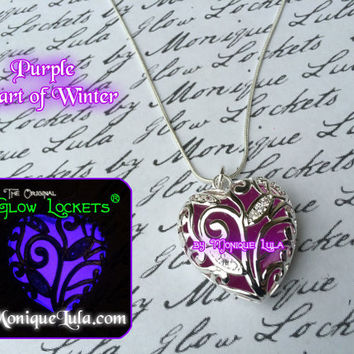 Purple Heart of Frozen Winter Forest Glows Violet  Glowing Necklace