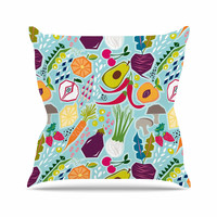 "Agnes Schugardt ""Garden Song"" Blue Food Outdoor Throw Pillow"