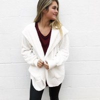 Fun & Fuzzy Open Jacket - Off White