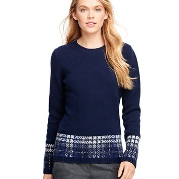 Women's Wool Crewneck Solid and Plaid Sweater | Brooks Brothers